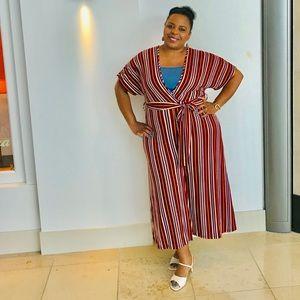 Pants - Burgundy Striped Plus Size Jumpsuit